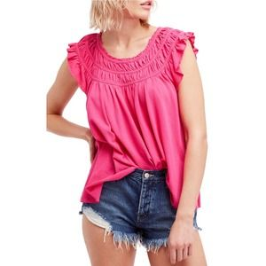 Free People Coconut Gathered Top In Pink